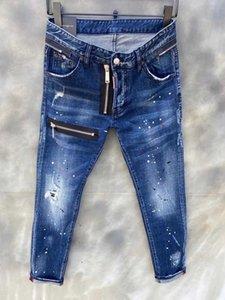 Mens Jeans Hip Hop Pants Stylist Jeans Distressed Ripped Biker Jean Slim Fit Motorcycle Denim Jeans Size 44-54