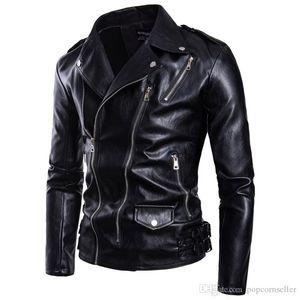 Hombre del diseñador chaquetas de cuero más el tamaño de la chaqueta de color sólido de la solapa del cuello de la cremallera Outwear Multi moda para hombre de la motocicleta