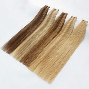 Üst sınıf Bant saç uzantıları içinde 40 adet / paket remy saç cilt atkı renkleri sarışın Çift Taraf Yapıştırıcı brezilyalı hint İnsan saç