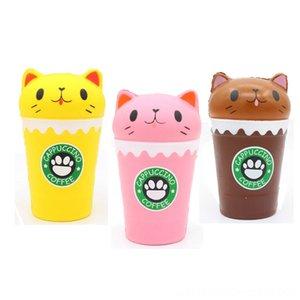 Memory Foam Gato zenci bei Coffee Cup Süt Kupası Battaniyeler Squishy Sınır Ötesi Yeni Stil Basınç Azaltma Oyuncak Peluş Bebekler Doldurulmuş Hayvanlar