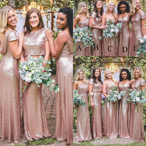 Cheap Bling Sparkly Bridesmaid Dresses Rose Gold Sequins Cheap Mermaid Two Pieces Backless Country Beach Party Dresses Wedding Guest Dress