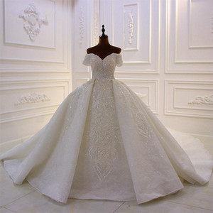 2020 Ball Gown Wedding Dresses Court Train Lace Appliqued Beads Sequin Overskirt Wedding Dress Off Shoulder Custom Made Country Bridal Gowns