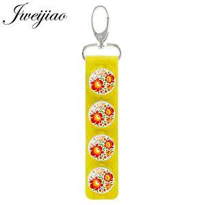 Classic Polish Paper Cutting Art Pattern Snap Button Keyring Yellow Leather Long Key Chain Glass Dome Pendant Gift PF87