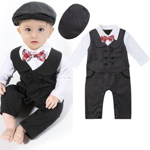 Recentemente bambino neonato vestito convenzionale festa di nozze smoking Gentleman Doppio Petto pagliaccetto tuta + Cappelli Outfit 0-24M
