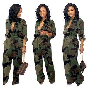Collar Camouflage-Print Jumpsuits Lange Low Frauen 1579 Sexy Strampler Strampler Overalls Hülse Winter-Designer beiläufige lose Fall Kleidung Okud