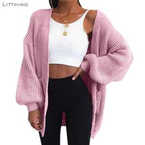 LITTHING Automne nouvelle mode des femmes à manches longues en vrac tricot Cardigan femmes pull en tricot Pull Femme Sueter Mujer Invierno