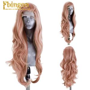 Ebingoo corpo lungo onda rosa della pesca viola arancione sintetica parrucca anteriore del merletto per la parte delle donne libere di fibra a temperatura elevata dei capelli parrucche