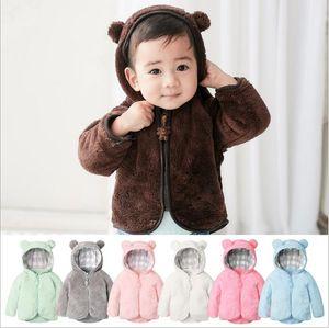 Çocuklar Tasarımcı Giyim Kış Kadife Ceket Boy Karikatür Ayı Outwear Kızlar Fermuar Polar Ceket Bebek Trençkot Hoodies Kazak D7125 Tops
