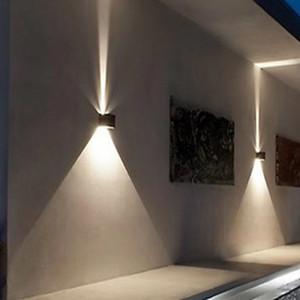 10 واط أدى ضوء الجدار تضيء أسفل IP65 ماء أبيض أسود الحديثة جدار مصباح AC85-265V إضاءة المنزل الخارجي