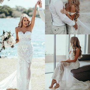 Lace Illusion Mermaid Wedding Dresses Beach Sexy 2020 Sweetheart Plus Size Bridal Gown Backless Robes De Mariee Long Tail Plus Size AL6212