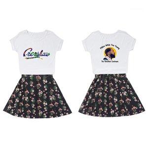 Bir Çizgi Etek Etek Suits Yaz Tasarımcı Mahsul Üst Baskı Nipsey hussle Dişiler Fan Cheerleaders Elbise Kadın 2PCS Çiçek ayarlar