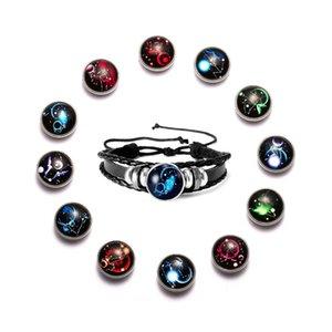 heap Charm Bracelets Men's Luminous 12 Constellation Bracelet Leo Scorpio Capricorn Virgo Aries Gemini Pisces Taurus Aquarius Libra Brace...