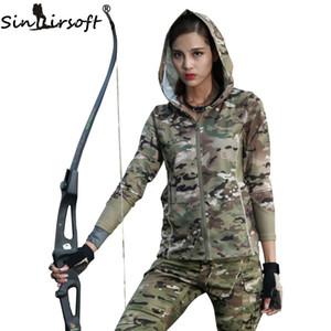 Koşu Doğa Sporları LY2003 Çalıştırmak için SINAIRSOFT Kadınlar Kamuflaj Uzun Kol Kapşonlu Taktik Kentsel Kamuflaj