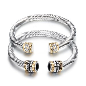 Браслет очарования и браслеты для женщин ретро титановая сталь витой проволоки золотой биколор браслет из нержавеющей стали кабельный браслет