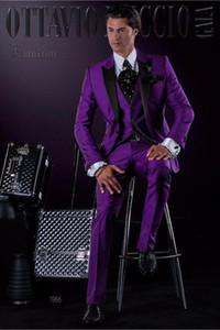 Smoking su misura spilla smoking dello sposo Groomsmen Best Man Suit Abiti da uomo nuziali (giacca + pantaloni + vest + cravatta + fazzoletto) P: 13