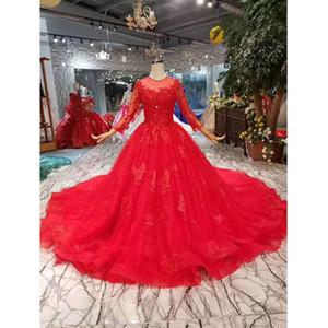 BGW 22712ht rossi Sposa Abiti da sera con le signore abiti lunghi Treno O-collo maniche lunghe da festa di nozze di sfera Celebrate Dress