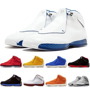 Hot Fashion Luxury Suede Jumpman 18s Mens Basketball Shoes Toro Bred Defining Moments OG ASG Black Royal Black White Blue Sports Sneakers