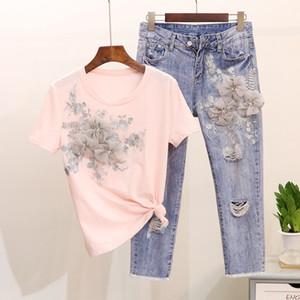 Amolapha Kadınlar 3D Çiçek Tshirts Jeans AYDINLATMA Nakış Tshirts + Delikler Kot Pantolon Kostüm Suits ayarlar