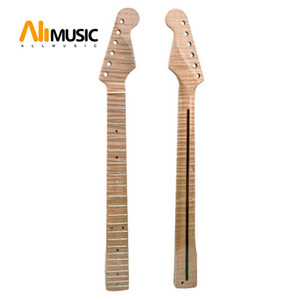 21 Fret Tiger Flame Maple Guitar Neck Replacement Guitar Neck for ST Electric Guitar Abalone Dots Natural Yellow Glossy