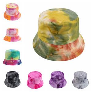 10styles Tie-teñido tapas de cubo de sombrero sombrero de la sombrilla del gradiente con fahsion superior plana exterior de Hip-hop Caps las mujeres playa del verano de los sombreros de FFA2977