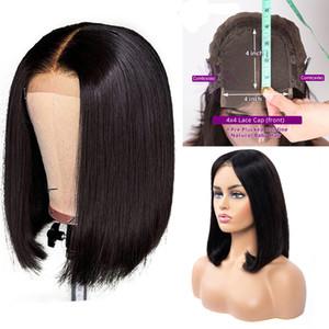 150٪ الكثافة 4X4 بيرو بوب الإنسان الشعر الرباط الباروكات إغلاق طبيعة اللون مستقيم الرباط أمامي لمة بيرو مستقيم الشعر الباروكة بوب