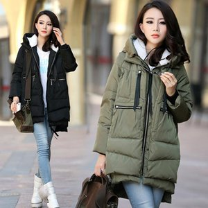 Pregnant women winter coat long loose hooded fashion pregnant women thick down jacket coat