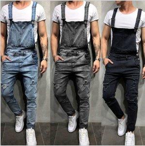 dril de algodón de los nuevos hombres del carpintero Trajes de otoño del resorte pantalones flojos ocasionales babero Bragas de los hombres de Hip Hop Moda Mono Jean