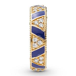 Yeni Orjinal 925 Gümüş Yüzük Altın Shine Taşlar Ve Stripes Yüzük Mavi Emaye İçin Kadınlar Düğün Hediye Güzel Avrupa Takı