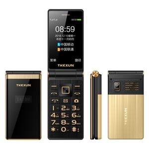 Cellulare Celular metallo corpo anziano Sim carta fotografica MP3 dello schermo 3.0 pollici touch Dual Screen Lusso Moda flip telefono cellulare Quad Band