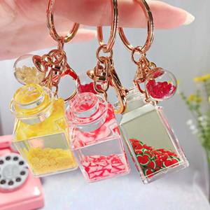 Cadeia criativa Glitter Key Quicksand Keychain líquido Floating Fruit Chaveiro Backpack pendente do presente para as mulheres
