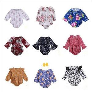 Vêtements pour enfants bébé filles barboteuses bébé animaux Fleur Bodies barboteuses manches longues Kid Vêtements Floral lapin Jumpsuit Bodysuit Salopette LT709