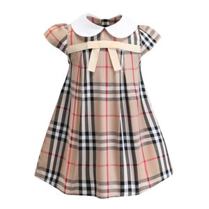 Día del niño regalo Summer Girl Cotton Dress Moda nudo del arco princesa vestidos de fiesta Fashion Plaid manga corta vestido de niña
