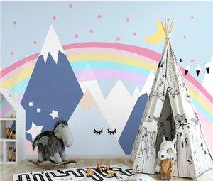 Bacal Nordic modern rainbow white cloud background wall papier peint papel de parede wallpaper 3d wallpaper mural stickers
