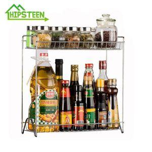 HIPSTEEN Two Lays Stainless Steel Detachable Storage Shelf Rack Home Kitchen Seasoning Holder Organizer-Silver T200320