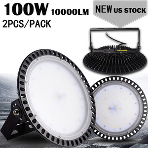 Docks Ship da USA 100W Ultraslim UFO LED High Bay Light Manifattura Magazzino industriale Illuminazione commerciale