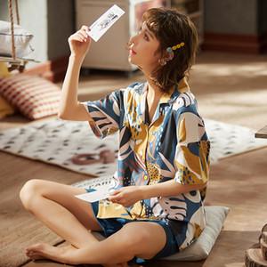 del verano de las mujeres pijamas delgada de la manga del algodón puro corto Homewear Turn Down collar traje