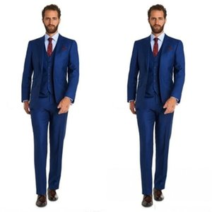 Custom Made Three Piece Blue Wedding Tuxedos Slim Style Mens Suits For Wedding Prom Evening Wear Free shipping (Jacket+Pants+Vest)