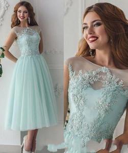 2019 colher Neck Uma linha de chá Comprimento applique tule volta lace-up Vestidos Mint Vintage Dresses Prom Party homcoming