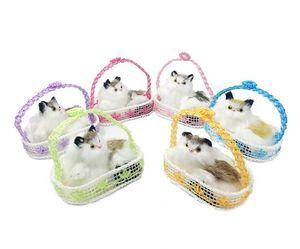 Ground stall hotspot simulation cat with basket household decoration desktop fur handicraft birthday gift