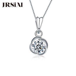 JRSIAL S925 Sterling Silver Pendant Moda Acessórios Jóias com Zircon Simples Personalidade Flower Colar Pingente Mulher