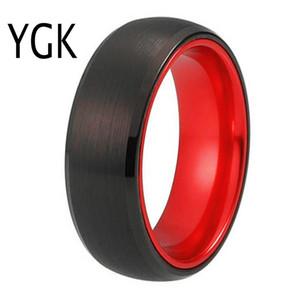 Anéis de casamento clássico para Tungsten Anel Preto tungstênio com Red alumínio anel de noivado Custom Engravable J190707 de Mulheres Homens