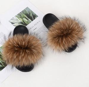 2019 pantoufles de fourrure de renard diapositives chaussures chaussures furry fuffly pantoufles tongs sandales sliders glisser sandale chaussures d'été femmes rss ple