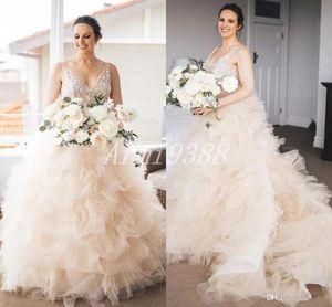 Champagne V Neck Lace Cascading Ruffles Ball Gown Wedding Dresses Sweep Train Garden Chapel Bridal Gowns vestidos de novia Plus Size