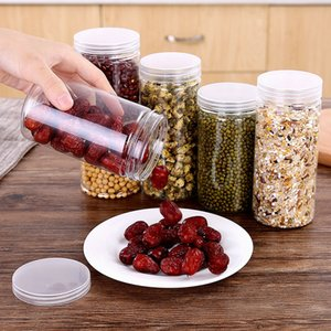 1pc Kitchen Storage Box Plastic Sealed Cans Food Preservation Fresh Pot Container With Cover For Candy Whole Grains Food
