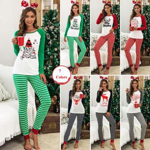 Frauen Weihnachten Pyjamas Set Gestreifte Weihnachts Printed 2-teiliges Set Nachtwäsche Cartoon Warm Tops Hosen Nachtwäsche 2pcs / set Startseite Bekleidung OOA7342