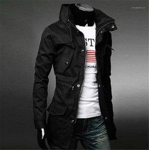С Карманы Мода мужская с длинным рукавом Тонкий Outwear Tops новых людей конструктора куртки сплошного цвета Mens Trench Coat