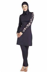 Full Size Floral Muslim Plus Swimwear Print Women Modest Cover Swimsuit Islamic Hijab Islam Burkinis Beachwear Bathing Suit 1 LG8S