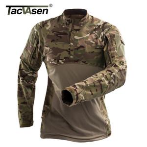 Homens Tactical T-shirt por atacado Verão Camouflage Exército combate T shirt de manga comprida militar Airsoft shirt Elastic Paintball camisas
