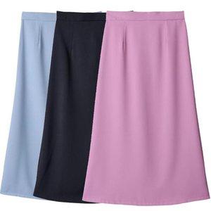 Skirts Solid Pink Bag Hip Skirt Harajuku High Waist A-Line Summer Long Midi For Women Korean Elegant Ladies Office Female