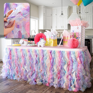 Table Skirt Bluekate Rainbow Party Tutu 6ft 9ft 14ft Table Skirt with Double Layer Organza Willows for Unicorn Party Supplies Decorations